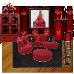 Red & Black Eiffel Tower Livingroom Collage I Made