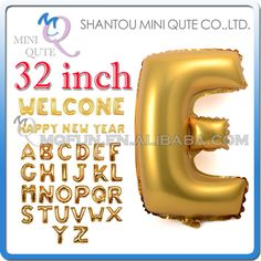 1PCS 32 inch Gold Aluminum Foil party supplies Wedding decoration English ABC A-Z letters children birthday kids air Balloon