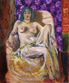 Seated Odalisque, 1922, oil on canvas, 46.5 x 38.3 cm. The Barnes Foundation, Merion, Pennsylvania, USA.   Orientalism, Henri Matisse (1869 - 1954).
