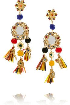 Tasseled crystal clip earrings by Dolce & Gabbana