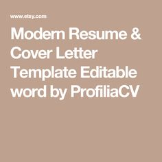 modern resume cover letter template editable word by profiliacv