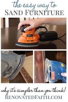 How To Sand Furniture - Whether sanding wood furniture by hand or with a sander, here are easy tips to make your next furniture project go smoothly, especially tip This simple tutorial shows you how to sand indoors, sand spindles, which grit Sanding Furniture, Sanding Wood, Furniture Repair, Diy Furniture Projects, Paint Furniture, Furniture Plans, Rustic Furniture, Furniture Making, Furniture Makeover