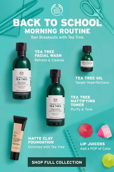 We know mornings can be a crazy, so we've put together a quick and easy Tea Tree skincare routine to help ban breakouts and leave skin looking visibly clearer. Perfect for busy mornings when the last thing you want to worry about is your skin. Face Skin Care, Diy Skin Care, Skin Care Tips, Body Shop At Home, The Body Shop, Body Shop Skincare, Skincare For Oily Skin, Body Shop Tea Tree, Skin Care Routine For 20s