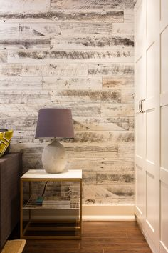 Stikwood…peel and stick to create an accent wall. Our palest finish, the white reclaimed weathered wood planks infuse any room with light and elegance without being taken too seriously. Source by jlwintz Laminate Flooring On Walls, Wood Plank Walls, Wood Planks, Tile Flooring, Wood Accent Walls, White Wood Walls, Planked Walls, Accent Walls In Living Room, Hardwood Floors