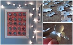 aluminum can flowers - on string lights