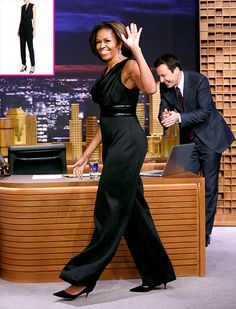 Michelle Obama's Black Jumpsuit on The Tonight Show: Get the Look! - Us Weekly