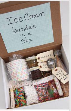Ice cream Sunday in a box great gift idea.                                                                                                                                                                                 More