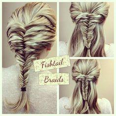 Bohemian Wedding Hairstyle ♥ Fish Tail Braid Ponytail Hairstyle