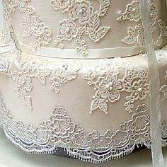 Pretty Amazing Cakes - Wedding Cakes Bristol | Lace & vintage wedding cakes Gallery. Lace detail