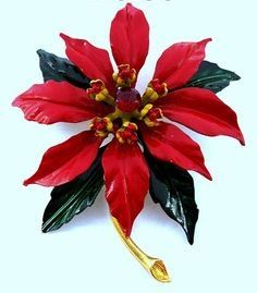 Vintage WEISS Christmas Poinsettia Flower Brooch - rubylane.com