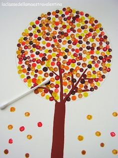 Fall Tree with qtips – great craft for 2 year olds who tend to use WAY too much paint with brushes or finger paints. I'll definitely do it again!