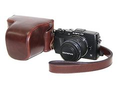 This was a gift with my camera and I absolutely love it! Slim enough to put in my purse, but heavy duty enough to protect my camera if I drop it. MegaGear Ever Ready; Protective Dark Brown Leather Camera Case, Bag for Olympus PEN E-P5 + 17mm + 14-42mm II R EP5 camera
