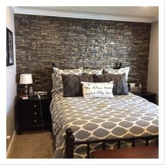 So jealous of my sisters bedroom! Absolutely love all the gray tones and that stone headboard wall! So obsessed! My brother in law has his own construction company in SoCal and never ceases to amaze me with his creations! Can't forget about this @westelm
