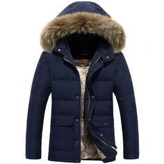 High-Quality NEW 2016 Men's Goose Down Fur-Lined Hooded Winter Jacket 4 Colors L-4XL