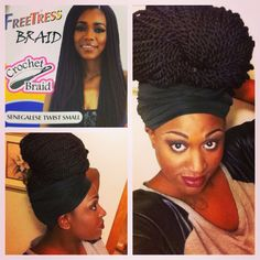 Freetress sengal twists crochet braids. I was a little skeptical I really like it. I used 9 packs but I needed 10 but I scattered the back. I had 16 cornrows. The only thing about this hair is instead of you being able to fold it in half like regular crochet hair it has a loop on one end so you don't have to tie it in knots so I would make sure your foundation is tight if you use this hair.