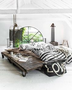 Despite the fact that the bedside table looks like an invitation to splinters and tetanus, a platform bed with a similar look would be sweet. The other items, besides the bedding, just... no.