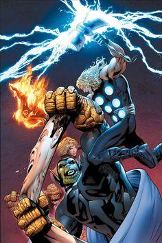 Fantastic Four and Thor vs Super-Skrull by Greg Land