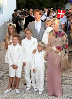 (Greek Royals) All dressed in white. The whole family attended Prince Nikolaos and Princess Tatiana's wedding in 2010.