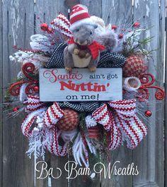 Christmas Mesh Wreath Santa Decor Christmas Wreath by BaBamWreaths