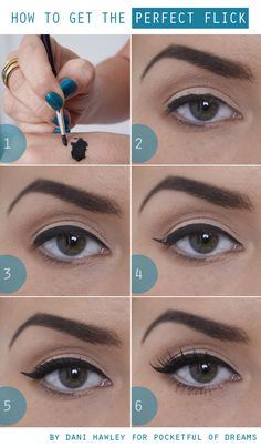 How to: get the perfect flick Always aim for the end of the eye brows.