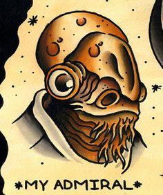 Admiral Ackbar tattoo (zoom). #admiral #ackbar #star #wars Star Wars Characters, Disney Characters, Fictional Characters, Grand Admiral Thrawn, Nerdy Tattoos, Admiral Ackbar, Star Wars Tattoo, Flash Art, Watercolor Paper
