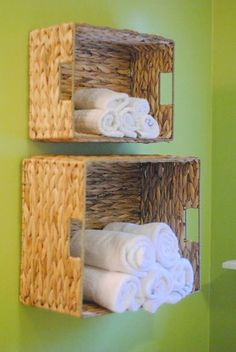 Easy Bathroom Towel Storage Idea-- such a clever idea for small spaces! She made this for just a few dollars and in under 15 minutes! ideas for small bathrooms cheap DIY Bathroom Towel Storage in Under 5 Minutes Bathroom Towel Storage, Bathroom Towels, Bathroom Baskets, Bathroom Wall, Laundry Baskets, Toilet Storage, Bathroom Closet, Downstairs Bathroom, Bathroom Vanities