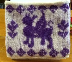 Gryphon Ipad clutch a felted purse with a zipper closure