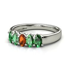 Oval Fire Opal 14K White Gold Ring with Emerald | Five-Stone Gala Band (5mm gems) | Gemvara