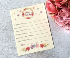 Dear Baby cards wishes for baby cards baby by PaperLovePrints