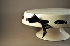 Tied with a Bow Cake Stand by EdenPottery on Etsy