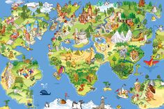 Animal Map Wallpaper Mural, custom made to suit your wall size by the UK's No.1 for wall murals. Custom design service and express delivery available.