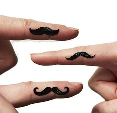 Finger Moustache Tattoos by MoustachesShop on Etsy, £5.00 I want us all to have one of these!!!!