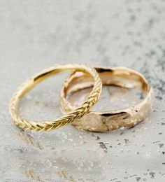 Beautiful fairmined gold wedding bands from Bario Neal @weddingchicks |  Fishtail Band and Reticulated Band Four in Fairmined Gold | http://bario-neal.com/jewelry/bands