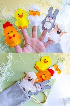 Felt Puppets, Felt Finger Puppets, Diy Quiet Books, Felt Books, Felt Crafts Patterns, Pdf Sewing Patterns, Finger Puppet Patterns, Spring Animals, Cool Paper Crafts