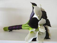 Purple white Calla lily bouquet, Bridal Bouquet, hand tied, eggplant, silk wedding flowers, wedding bouquet. $105.00, via Etsy.