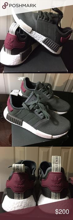 Adidas NMD NEW Adidas NMD R1 Size 5.5 Color: Utility Gray/Maroon (BA7752) I bought it from Adidas website Adidas Shoes Sneakers