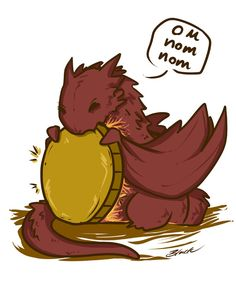 Chibi Smaug the Dragon The Hobbit fanart print by BlacksSideShow