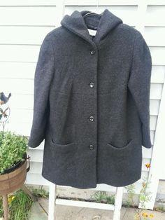 Liz Claiborne Women's Jacket Coat Wool blend black hooded sizes M XL 12_16 #LizClaiborne #BasicCoat