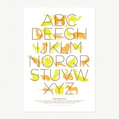 Animal Alphabet Poster - 13 x 19 - orange and green by decoylab on Etsy