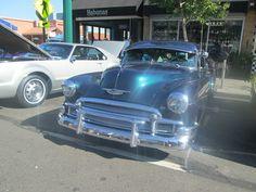 Glittery blue car.