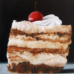 "Daily Paintworks - ""Tiramisu Cake"" - Original Fine Art for Sale - © Jelaine Faunce Sweet Recipes, Cake Recipes, Dessert Recipes, Desserts, Ice Cream Art, Sweet Drawings, Food Carving, Candy Cakes, Food Painting"