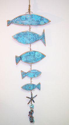 Pintado de pescado de madera móvil por ThePaintedPearlSRQ en Etsy Más️️✖️More Pins Like This One At FOSTERGINGER @ Pinterest✖️