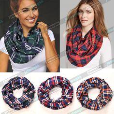 Plaid Tartan Checked Flannel infinity Scarf Wrap Shawl Cozy #Newbrand #Scarf