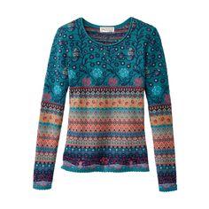 Jacquard-Pullover, blau-gemustert