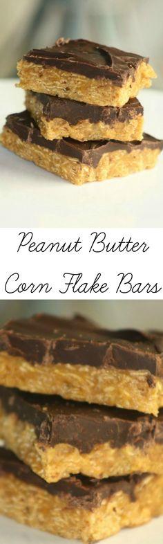 Peanut Butter Corn Flake Bars - Simple and delicious corn flake bars recipe… Cookie Recipes, Snack Recipes, Dessert Recipes, Snacks, Easy Recipes, Yummy Treats, Delicious Desserts, Sweet Treats, Corn Flakes Peanut Butter