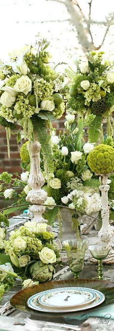Love this romantic look in green.  Find high-quality silk flowers, ferns and preserved stems to DIY this look for less.  Pinned by Afloral.com from http://www.shopdailychic.com/