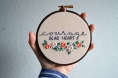 Courage, Dear Heart - Embroidery Hoop Art - Needlepoint Wall Hanging - Book Quote, C.S. Lewis, Chronicles of Narnia - Wildflower Nursery Art by BreezebotPunch on Etsy https://www.etsy.com/listing/266004617/courage-dear-heart-embroidery-hoop-art