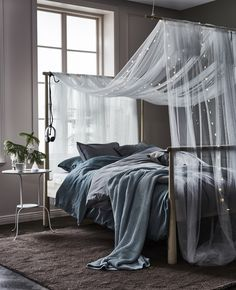 A short way to a cozy bedroom: GJÖRA bed frame, IKEA textile, LED light chains and some inspiration. Cozy Bedroom, Bedroom Sets, Home Decor Bedroom, Modern Bedroom, Master Bedroom, Bedrooms, Bedroom Colors, Grey Bedroom Walls, Bright Bedroom Ideas