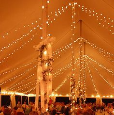 String lights around perimeter of tent, strung to tent ceiling and wrapped around poles. Something cooler for the tent poles, though. Tent Lighting, Backyard Lighting, Wedding Lighting, Tent Decorations, Wedding Decorations, Chapel Wedding, Dream Wedding, Fall Wedding, Wedding Stuff