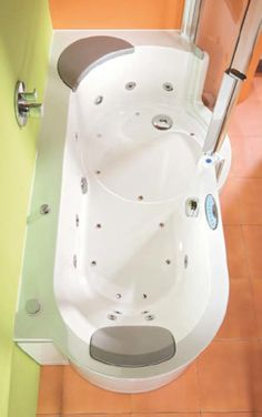 Wow - a walk-in shower/tub with a whirlpool!!!!  Now that's getting high-tech!  Baby Boomers!  We'll be buying loads of these in the future, eh?